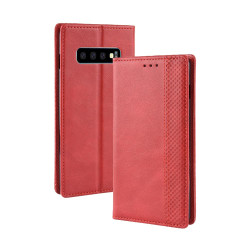 Samsung Galaxy S10 Case Red Retro Texture PU Leather Folio Wallet Cover with Magnetic Buckle, Card Slots and Cash Slot | Leather Samsung Galaxy S10 Covers | Leather Samsung Galaxy S10 Cases | iCoverLover