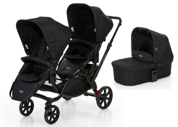 Zoom Twin Pram 2017 Coal plus Carrycot Bundle