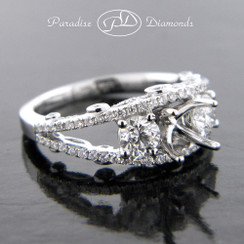 Style PDE5020 Four Prong Center Stone Split Shank Semi Mount  With Diamond Accent 18K White Gold