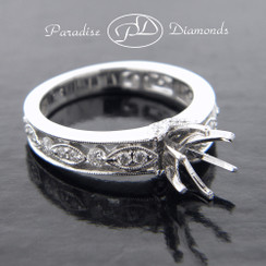 Style PDJ5052 Six Prong Center Semi Mount With 0.50CT Round Pave Accent Diamonds 18K White Gold