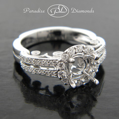 Style PDJ5146 Round Halo Center With 0.65CT Round Accent Diamonds 18K White Gold