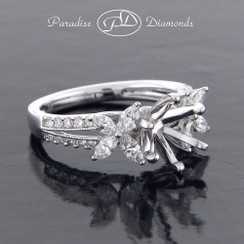 Style PDJ5134 Round Center Split Shank With Round And Marquise 0.85CT Diamond Accent 18K White Gold