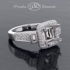Style PDJ5133 Square Halo Center Semi Mount With 2.00CT Round And Princess Micro Pave Accent Diamonds 18K White Gold