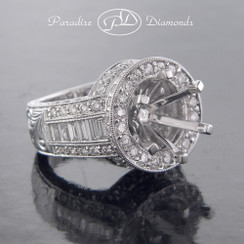Style PDJ5102 3.15CT Round Halo Six Prong Diamond Semi Mount Ring, Baguettes And Round Side Shank 18K White Gold