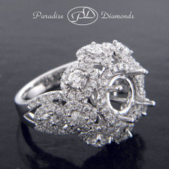 Style PDJ5101 Round Halo Center With 3.20CT Accent Diamond 18K White Gold