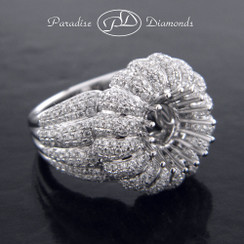 Style PDJ5100 Blooming Diamond Semi Mount Fluted Micro Pave Setting Engagement Ring 18K White Gold