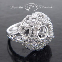 Style PDJ5057 Round Halo Center Four Prong Split Shank Semi Mount With 2.30CT Accent Diamonds 18K White Gold