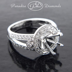 Style PDJ5056 Round Halo Six Prong Center Semi Mount Split Shank  With 0.90CT Accent Diamonds 18K White Gold