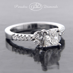 Style PDJ534 0.74CT Princess Center Diamond 0.35CT Accent Diamond 18K White Gold