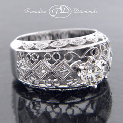 Style PDT574 Round Center Diamond with Intricate Design 18K White Gold