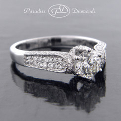 Style PDT535 Round Center Diamond With Round Accent Diamond 18K White Gold