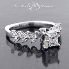 Style PDJ597 0.75CT Princess Center Diamond 0.75CT Accent Diamond 18K White Gold
