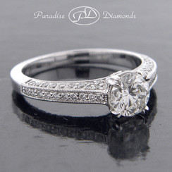 Style PDE599 0.77CT Round Center Double Claw Prong Set Diamond Pave 0.50CT Accent 18K White Gold
