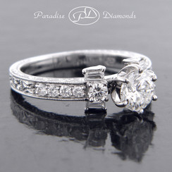 Style PDT573 Three Stone Engagement Ring with Round And Baguettes  Accent Diamond 18K White Gold