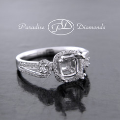 Style PDE5017 Princess Halo Center Split Shank With 0.40CT Accent Diamonds 18K White Gold