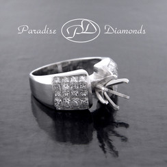 Style PDR525 Six Prong Center Semi Mount With 2.35CT Princess Cut Invisible Setting Accent Diamonds 14K White Gold