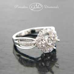 Style PDA503 Round Halo Center Split Shank Semi Mount Ring With 0.55CT Round Accent Diamonds  18K White Gold