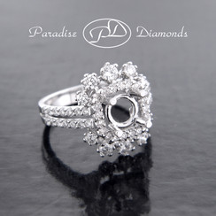 Style PDA508 Square Halo Center Split Shank Semi Mount With 1.10CT Round Accent Diamonds 18K White Gold