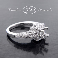 Style PDE519 Square Halo Round Center Semi Mount With 1.45CT Round Pave Accent Diamonds 18K White Gold
