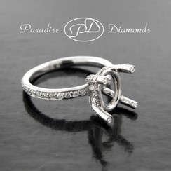 Style PDE558 Oval Four Prong Center Semi Mount With 0.65CT Round Accent Diamonds 18K White Gold