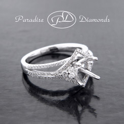 Style PDE5014 Four Prong Halo Center Stone With 0.55CT Accent Diamond 18K White Gold