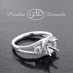 Style PDE5039 Round Halo Center Split Shank Semi Mount With 0.85CT Accent Diamond 18K White Gold