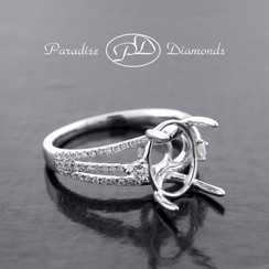 Style PDE5041 Four Prong Oval Center Split Shank Semi Mount With 0.40CT  Accent Diamond  18K White Gold