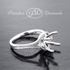 Style PDE5042 Round Halo Center Split Shank Semi Mount With 0.45CT Accent Diamonds 18K White Gold