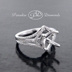 Style PDE5045 Four Prong Halo Center Semi Mount With 0.50CT Accent Diamonds 18K White Gold