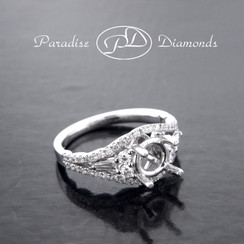 Style PDE5050 Round Halo Center Semi Mount With 0.70CT Round And Baguettes Accent Diamonds 18K White Gold