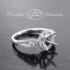 Style PDE5057 Round Halo Center Four Prong Semi Mount With 0.75CT Accent Diamonds 18K White Gold