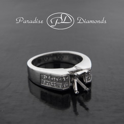 Style PDG520 Four Prong Center Semi Mount With 1.20CT Princess Cut Invisible Setting Accent Diamonds 18K White Gold