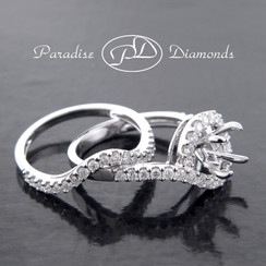 Style PDJ719 Round Halo Four Prong Center Semi Mount And Matching Band With 0.75CT Round Accent Diamonds 14K White Gold