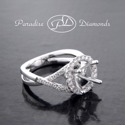 Style PDJ5087 Round Halo Center Twisted Shank With 0.60CT Round Accent Diamonds 18K White Gold