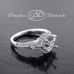 Style PDJ5157 Round Pave Halo Center Semi Mount With 0.50CT Round Pave Accent Diamonds 18K White Gold