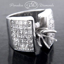 Style PDS533 Round Center Six Prong Semi Mount Ring With Princess Cut Invisible Setting 4.50CT Accent Diamonds 18K White Gold