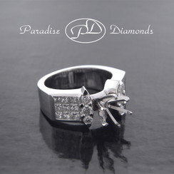 Style PDS537 Round Center Six Prong Semi Mount With Round And Princess Cut Invisible Setting 1.20CT Accent Diamonds 18K White Gold