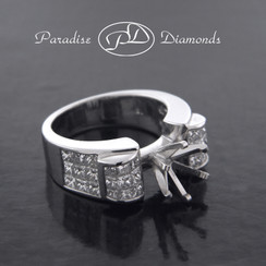 Style PDS545 Six Prong Center Semi Mount With 2.20CT Princess Cut Invisible Setting Accent Diamonds 18K White Gold