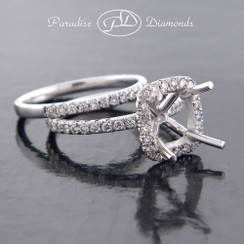 Style PDSPO770 - 0.75ct. Cushion Diamond Halo Semi Mount Ring and Matching Band, French cut setting, in 18K White Gold