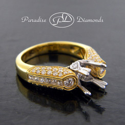 Style PDT518 Double Four Prong Center Stone Semi Mount With 1.08CT Accent Diamonds 18K Yellow And White Gold