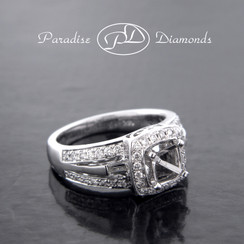 Style PDX572 Four-Prong Square Halo Center Semi Mount With 0.55CT Round Accent  Diamonds 14K White Gold