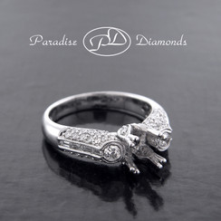 Style PDT521 Double Four Prong Center Stone Semi Mount With 0.22CT Baguettes And Round Accent Diamonds 18K White Gold