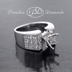Style PDG552 Round Center Six Prong With Invisible Setting 2.85CT Accent Diamonds 18K White Gold