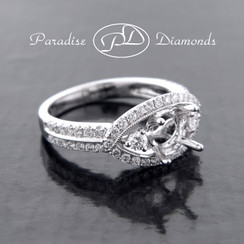 Style PDJ5038 Three-Stone Round Inside Marquise Halo Semi Mount  With 0.75CT Round Accent Diamonds 18K White Gold