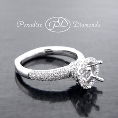 Style PDJ5072 Round Halo Center Micro Pave Semi Mount With 1.05CT Round Micro Pave Accent Diamonds 18K White Gold