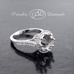 Style PDK525 Round Halo Center Semi Mount With 0.40CT Round Accent Diamonds 18K White Gold