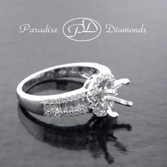 Style PDN538 Round Center Semi Mount With  Round And Baguettes 0.65CT Accent Diamonds 18K White Gold