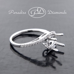 Style PDN546 Four Prong Center Semi Mount  With 0.25CT Accent Diamonds 18K White Gold