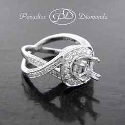 Style PDT509 Four Prong Center  Twist Overlapping Shank Semi Mount With 1.60CT Accent Diamonds 18K White Gold