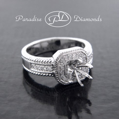 Style PDT599 Six Prong Square Halo Center Semi Mount With 0.30CT Accent Diamonds 18K White Gold